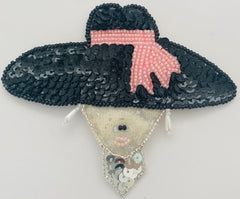 "Hat Black with White and Pink Beaded Band and Satin and Iridescen Lady Face 3.5"" x 4"""