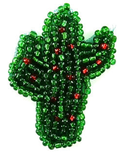 "Cactus with Green and Red Beads 1.5"" x 1.25"""