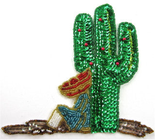 "Cactus with Hombre in Sombrero Sequins and Beads 6"" x 6"""