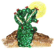 "Load image into Gallery viewer, Cactus with Yellow Sequin Sun 4.5"" x 4.5"""