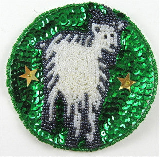 Zodiac Symbol Capricorn the Goat, Sequin Beaded  3.5""