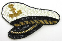 "Load image into Gallery viewer, Captains Hat with Black and White Gold Beads 3.5"" x 5.5"""
