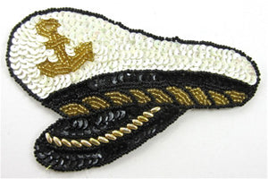 "Captains Hat with Black and White Gold Beads 3.5"" x 5.5"""