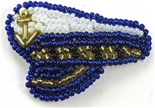 "Captains Hat with all white and Blue Beads 1"" x 1.5"""
