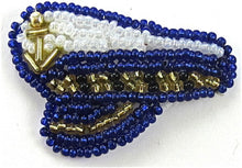 "Load image into Gallery viewer, Captains Hat with all white and Blue Beads 1"" x 1.5"""