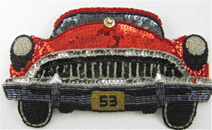 "Car 1953 Buick Red Black Sequins and Beads and Rhinestone  4.5"" x 7"""