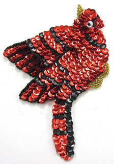 "Cardinal with Red Black Sequins 5.5"" x 5"""