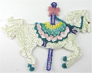 "Carousel Horse Sequin Beaded 7.5"" x 5"""