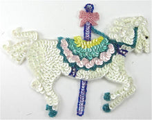 "Load image into Gallery viewer, Carousel Horse Sequin Beaded 7.5"" x 5"""