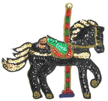 "Load image into Gallery viewer, Carousel Horse Black Sequins and Beads 6.5"" x 7.5"""