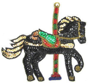 "Carousel Horse Black Sequins and Beads 6.5"" x 7.5"""
