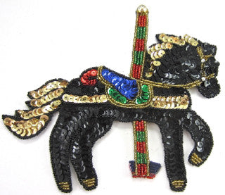 "Carousel Horse with Blue/Green/Black/Gold Sequins 6"" x 7"""