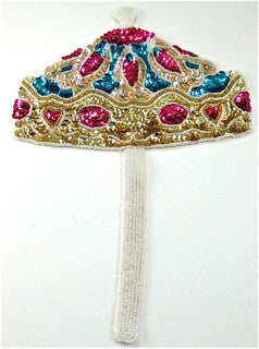 "Carousel Umbrella MultiColored sequins and Beads 10"" x 7"""