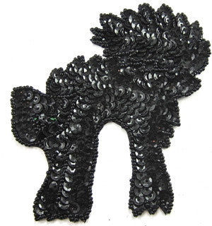 "Black Cat for Halloween Sequin Beaded 4.5"" x 4"""