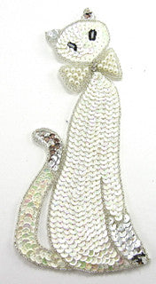 "Cat White Sequins with Rhinestone/pearl Bow 8.5"" X 4"""