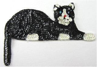 Cat  with Black and Beige Sequins and Beads  3.25'x 7.5""