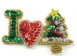 "Christmas Applique I heart Tree 1.5"" x 3"""