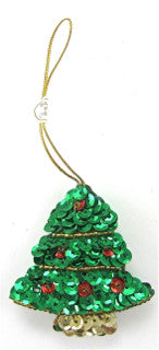 "Sequin Tree Christmas Ornament 2.5"" x 2"""