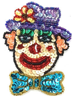 "Clown Face with MultiColored Sequins and Beads 7.5"" x 5.5"""