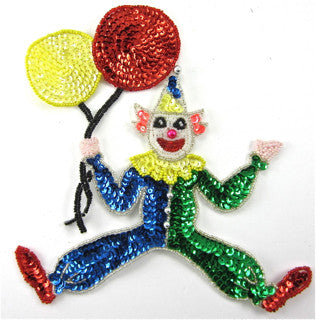 "Clown Smiley Face with Balloons 7.5"" x 7.5"""