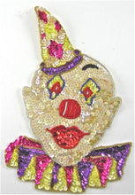 "Load image into Gallery viewer, Clown Large with MultiColored Sequins and Beads 9.5"" x 6.5"""