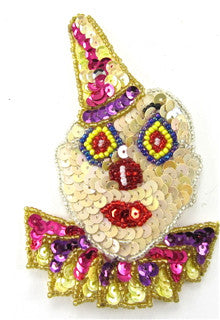 "Clown with MultiColored Sequins and Beads 4.25"" x 3"""