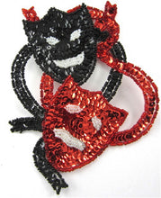 "Load image into Gallery viewer, Mardi Gras Theater Masks Red and Black Sequins and Beads  6"" x 4.5"""