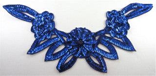 "Flower Collar with Royal Blue Sequins and Beads 8"" x 16.5"""