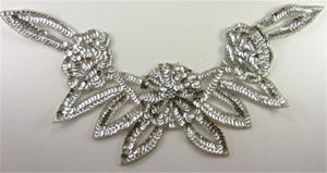 "Flower Neckline with Silver Sequins and Beads 8"" x 16.5"""