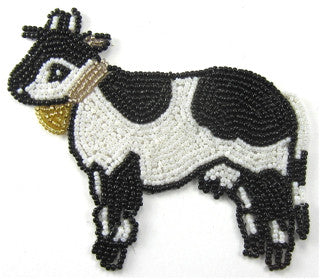 "Cow All Beads Black and White Gold Cowbell  4"" x 4.5"""