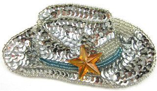 "Cowboy Hat with Silver Blue Gold Sequins and Beads Turquoise Band 2"" x 3.5"""