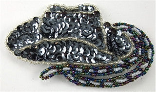 "Cowboy Hat with Grey Sequins, Moonlight, Silver and  White Beads  4"" x 2.5"""