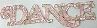 "Dance Word Spelled out with Pink Sequins Silver Bead Trim 10.5"" x 2.5"""