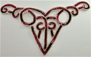 "Designer Motif Neckline with Cranberry Sequin and Silver Beads  10.5"" x 5"""