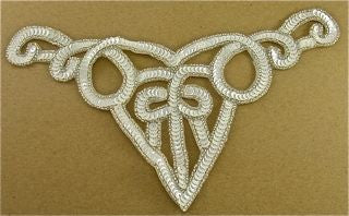"Designer Motif Neckline with White Sequins and Silver Beads  10.5"" x 5"""