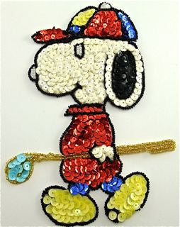 "Snoopy Dog with Golf Club and Baseball Cap  5"" x 7.5"""