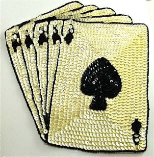 10-ACE Royal Flush Playing Cards Set with Beige Sequins and Black Beads in two sizes