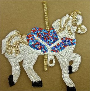 "Carousel Horse White with Multi-Color Sequins and Beads 9"" x 8"""