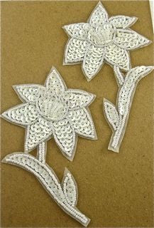 "Flower Pair with White Sequins and Beads 4.5"" x 3"""