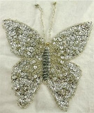 "Load image into Gallery viewer, Butterfly with Silver Sequins and AB Eyes 6.5"" x 6.5"""