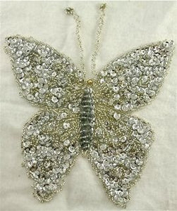 "Butterfly with Silver Sequins and AB Eyes 6.5"" x 6.5"""