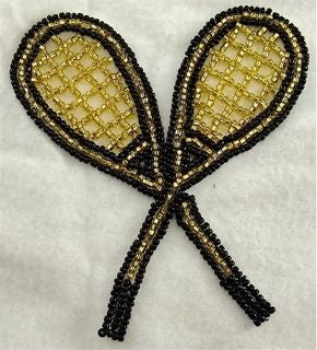 "Tennis Racquets Black and Gold Beads 3.75"" x 4"""