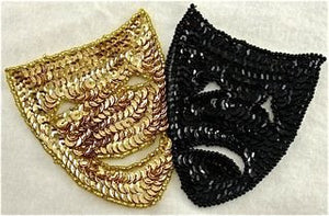 "Masks Black and Gold Sequin and Beads 3.5""x 5.5"""