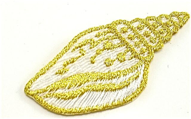 "Sea Shell, White with Metallic Gold, Embroidered Iron-On  2.25"" X 1"""