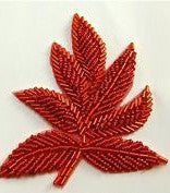"Leaf Pair with Red Beads 3.25"" x 4"""