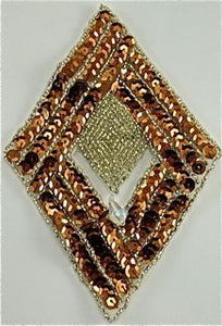 "Design Motif Diamond with Bronze Sequins and Beads 6"" x 4"""
