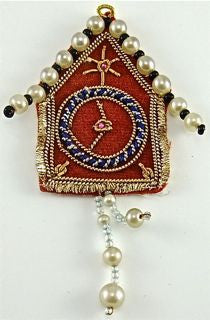 "Clock Red with Bullion Thread and  White Beads, 3.25"" X 2"""