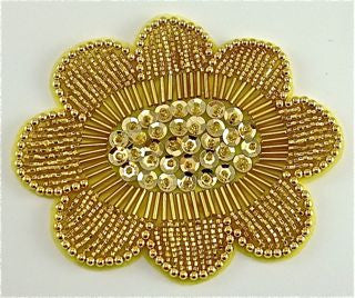 "Flower with Gold Beads and Sequin Center 4"" x 3"""