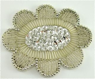 "Flower with Silver Beads and Sequins 4"" x 3"""