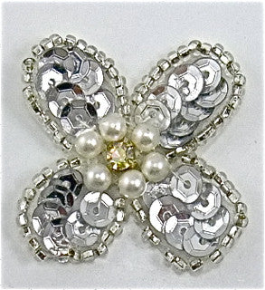 "Flower with Silver Sequins and Beads and Pearl with Rhinestone 1.5"" x 1.5"""